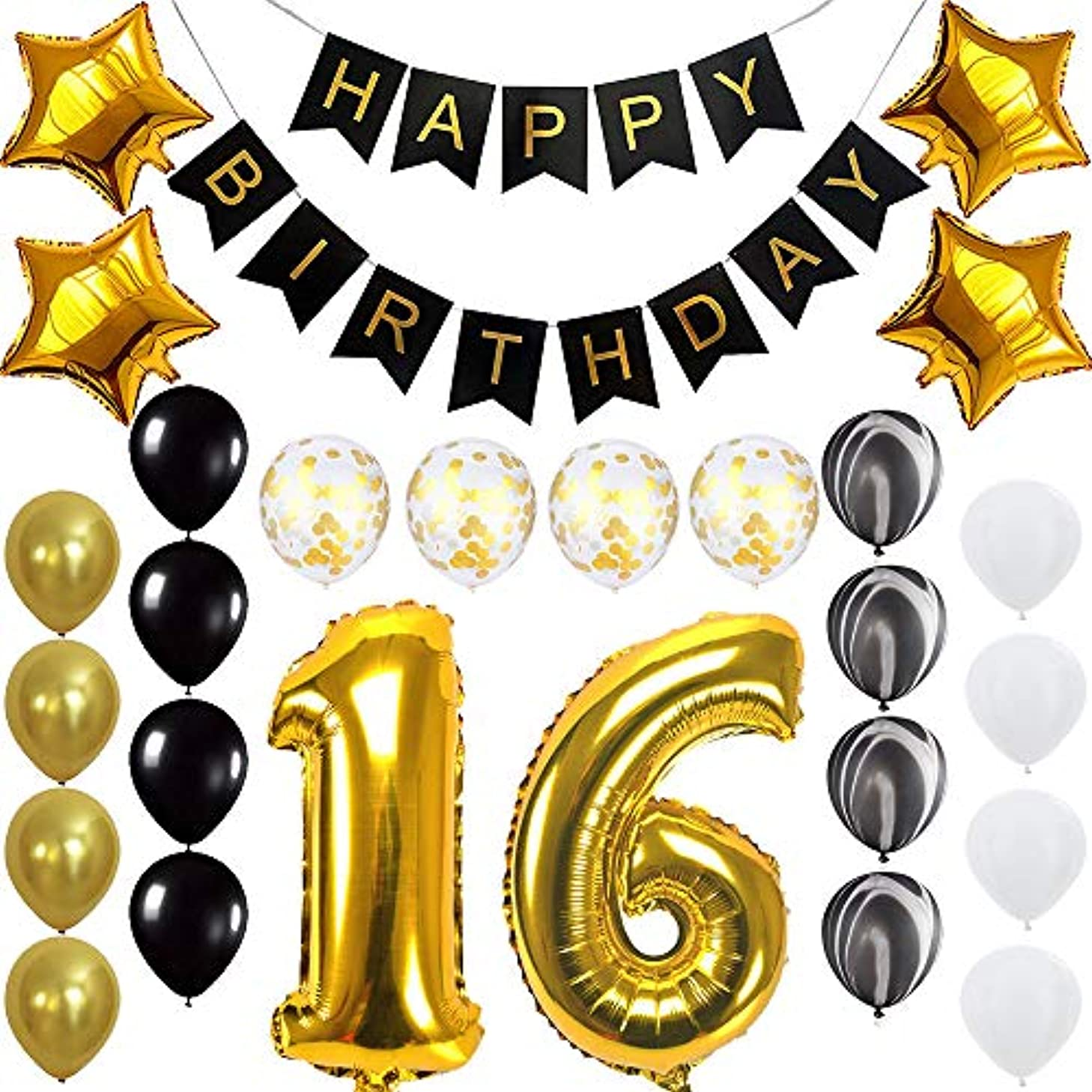 Happy 16th Birthday Banner Balloons Set for Sweet 16 Years Old Birthday Party Decoration Supplies Gold Black