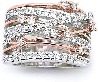 Women Color Separation Rose Gold Floral Wedding Engagement Ring