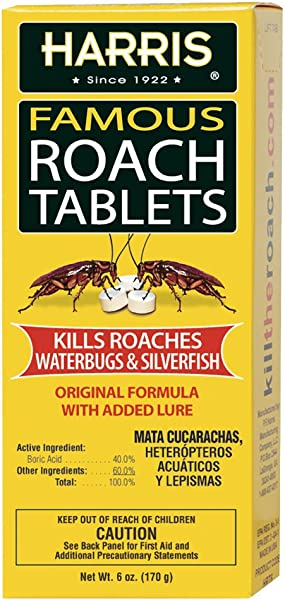 Harris Roach Tablets Boric Acid Roach Killer With Lure 6oz 145 Tablets