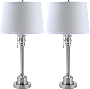 CO-Z White Table Lamp Set of 2, Modern Metal Desk Lamp in Brushed Steel Finish, 26 Inches in Height, Bedside Lamps for Office Bedroom Nightstand Accent, ETL. (Table Lamp Set of 2)