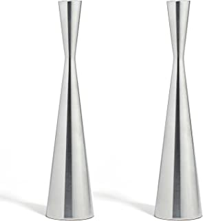 LampLust Silver Finished Taper Candleholders - 2 Pack, 10.5 Inches, Metal, Hourglass Shape Holder, Fits All Standard Candlesticks