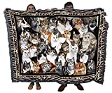 Purrfect Cats - Helen Vladykina - Cotton Woven Blanket Throw - Made in The USA (72x54)