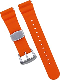 MOD 18mm Watch Band - Orange - Quick Release - Soft Silicone Replacement Watch Strap - Diver Style - for Men and Women