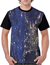 Raglan Sleeve Baseball Tshirt,Night Sky,Starry Outer Space Theme S-XXL Womens Short Sleeve Blouses