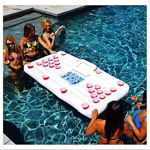 Inflatable Floating Row, Inflatable Beer Float Party Swimming Pool Water Floating Drinking Lounger Mat Drink Bar Ice Buckets Food Cooler Beer Pong FL(Pool)
