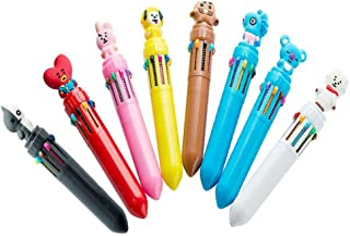 Comidox 8Pcs BTS Bangtan Boys 10 in 1 Color Retractable Ballpoint Pen Creative Cartoon Shape Multicolor Pens Medium Point ...