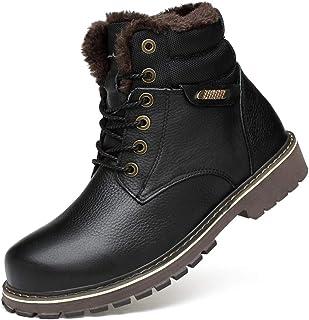 Autopeck Hiver Bottes Chukka Homme Lacets Cuir Chaussures Chaudes Fourrure Doublé Confort Antidérapant Outdoor Bottes pour...