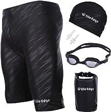 Life Edge メンズ 水着 フィットネス トランクス スイミング用品5点セット 競泳水着 スイミングゴーグル スイムキャップ ドライバッグ 耳栓 セット 男