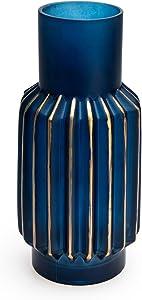 Black Velvet Studio - Jarrón Ocean Vidrio, Color azulydorado. Estilo nórdico 30x14x14 cm.