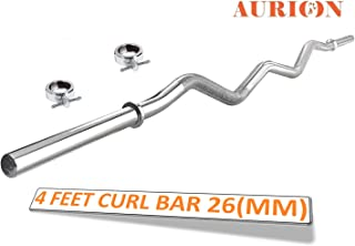 Aurion Solid Chrome 26 mm Thickness Barbell Bar (3 feet, 4 feet 5feet, 6 feet 7 feet) Standard Straight Weight Bar with 2 Locks