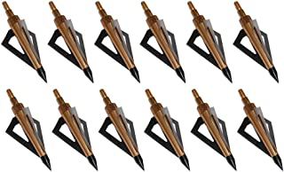 Huntingdoor 12Pack 3 Fixed Blade Archery Broadheads 125 Grain Arrow Head Hunting Arrow Tips for Compound Bow and Crossbow