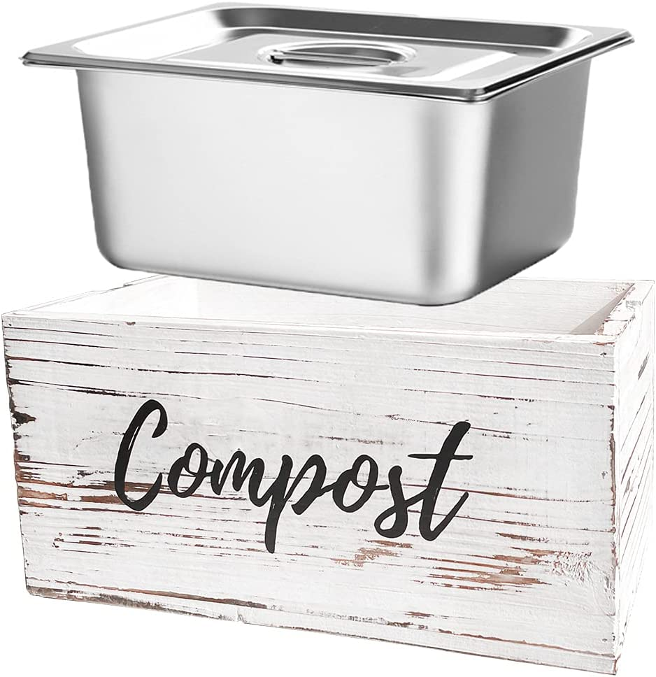 Rustic Kitchen Compost Max 77% OFF Bin - Industry No. 1 Container with Wooden Stain