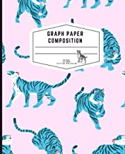 Tigers Graph Paper Composition Notebook: Quad Ruled 4x4 Grid Paper for Math & Science: Blue Graph Composition Notebook for...
