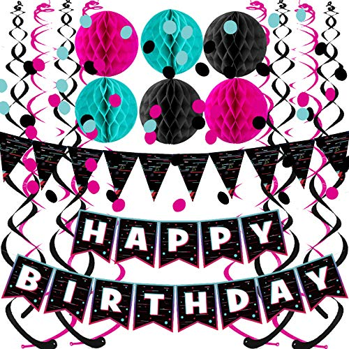 FECEDY Black Rose Red Blue Happy Birthday Banner with Fashion Cute Flag Bunting Paper Circle Confetti Garland Swirl Streamers Honeycomb Ball for Birthday Party