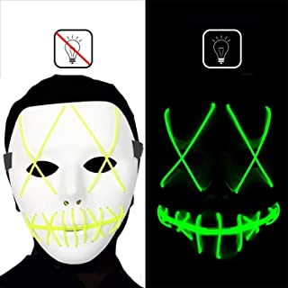 Dee Banna Halloween Mask Led Light Up Purge Mask, Frightening Halloween Cosplay Costume Scary Mask EL Wire Light up Mask for Halloween Festival Parties Green