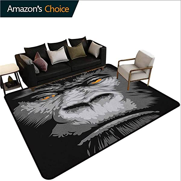 YucouHome Modern Sports Runner Rugs Close Up Gorilla Portrait With Orange Eyes Zoo Jungle Animal Wild Money Graphic Durable Rugs Living Dinning Office Rooms Bedrrom Hallway Carpet 2 X 6