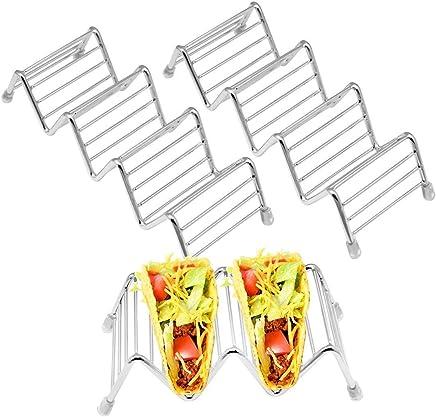 Preisvergleich für SelfTek 3 Stück Taco Halter 2 Größen Edelstahl Taco Ständer Taco Rack Halten Sie 2 oder 3 oder 4 harte oder weiche Taco Shells