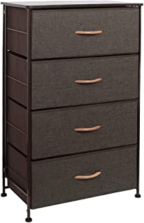 WAYTRIM Fabric 4 Drawers Storage Organizer Unit Easy Assembly, Vertical Dresser Storage Tower for Closet, Bedroom, Entryway, Coffee