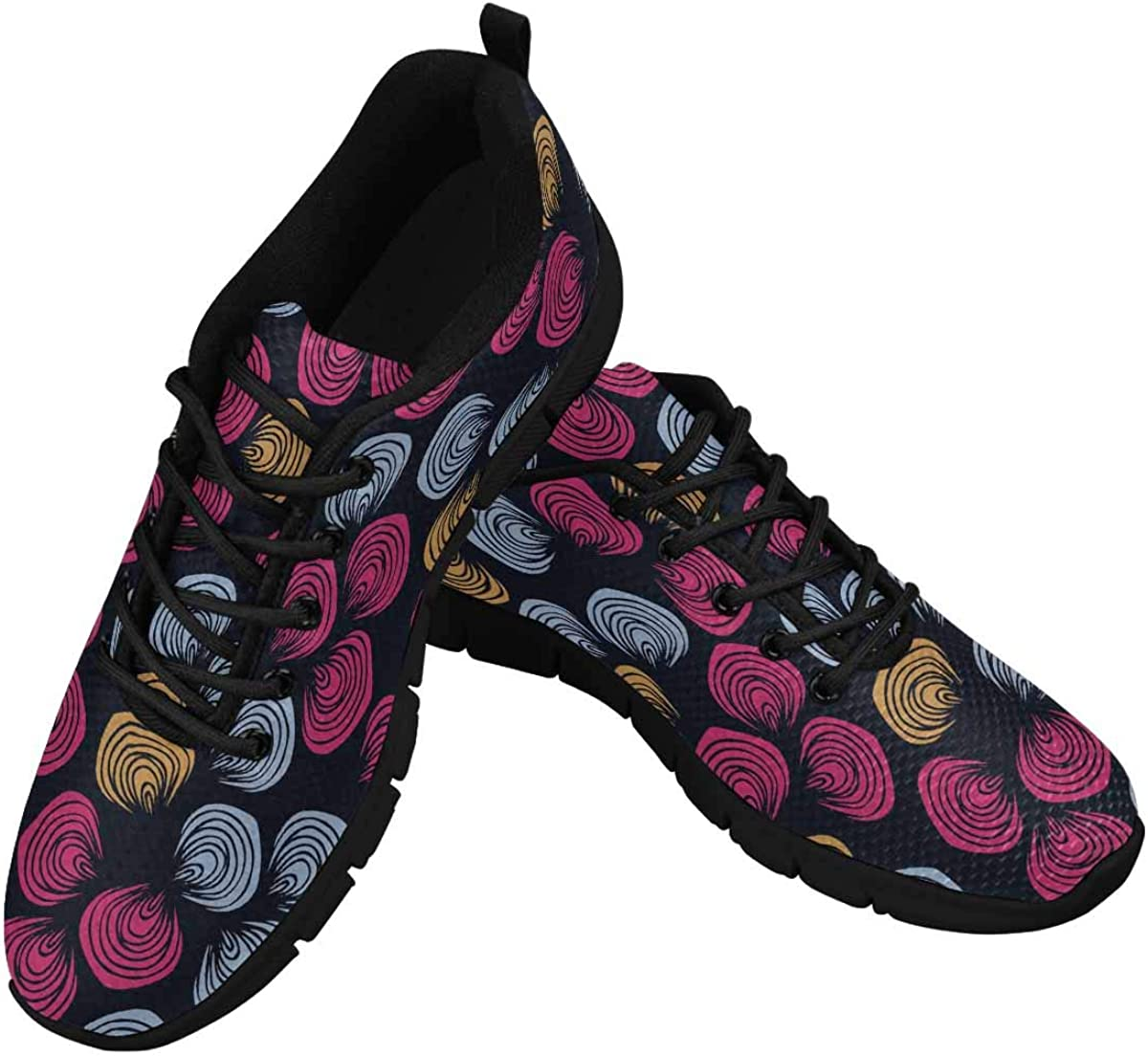 INTERESTPRINT Cute Pink Blue Pattern Women's Lace Up Breathable Non Slip Sneaker