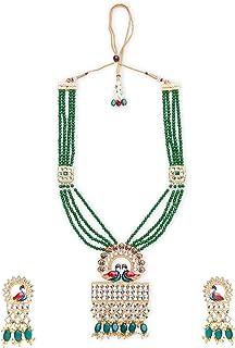 Zaveri Pearls Multicolor Meenakari Peacock Design Crystal Necklace & Earring Set For Women-ZPFK11009