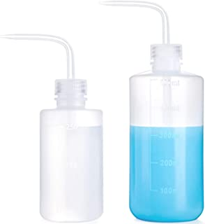 Mkono 2 Pack Plant Flower Succulent Watering Bottle Plastic Bend Mouth Watering Cans Safety Wash Bottle Squeeze Bottle 250ML and 500ML, Small and Medium