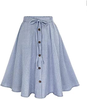 Hot Sale!Women Skirt Daoroka Sexy Strip A-Line Button Front Drawstring Pleated Casual Cute High Elastic Waist Midi Knee Length Skirt Valentine's Day Gift For Girlfriend Lovers Wife (M, Blue)