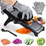 Labeol Adjustable Mandolin Slicer Professional 3 in 1 Stainless Steel Food Slicer Multi Functional Vegetable Chopper Vegetable Potato Onion Cheese Julienne Slicer with Safety Gloves