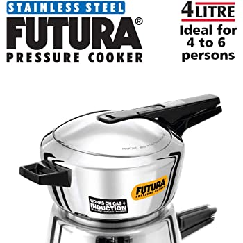 Futura Stainless Steel Induction Compatible Pressure Cooker, 4 Litre