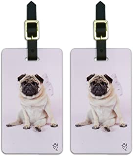 Pug Puppy Dog with Angel Wings Pink Luggage ID Tags Carry-On Cards - Set of 2