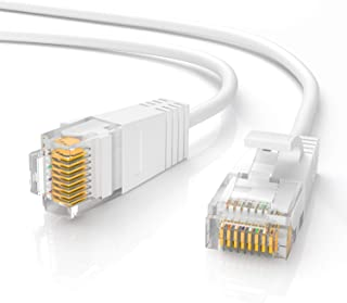 Jadaol Cat 6 Ethernet Cable 50 ft White, Slim Long Internet Network LAN Patch Cords, Cat6 High Speed Computer Wire with Cl...