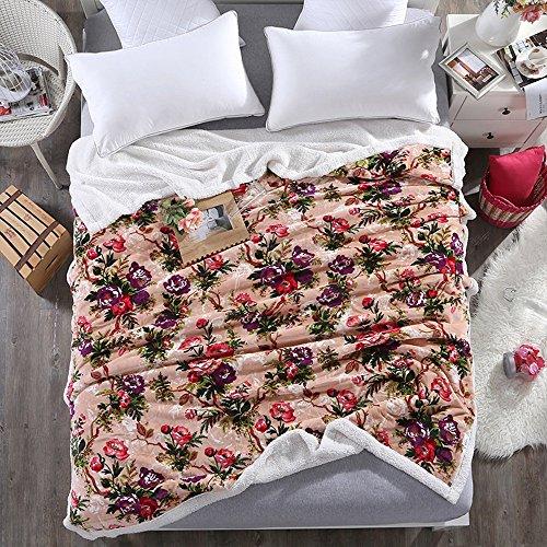 Global- Fleurs modèle bicouche moutons Astrakhan laine couverture Climatisation couverture siesta couverture loisirs bureau de couverture Polyester couverture (taille : 180 * 200cm)