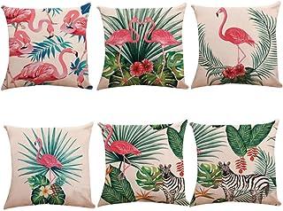 LYTFQ Funda De Cojín De Lino Decorativas Fundas Cojines 6 Piezas Flamenco Cushion Cover para Sofa Jardin Cama Coche Decorativo 45X45Cm (Sin Núcleo De Almohada)