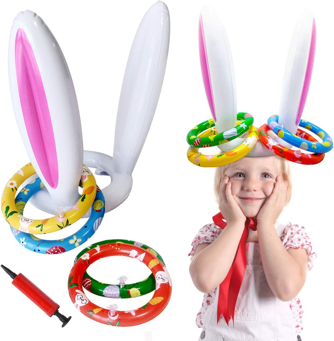 Hiwu 2 Pack Easter Inflatable Bunny Ki Max 64% OFF Game for Toss New popularity Ring