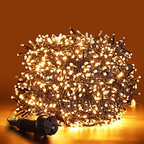 ilikable Luci Natale Esterno 1000 LEDS 25M, Catena Luminosa 8 Modalità Impermeabile Luci LED Decorative Natale per Interno Romantica Camera Festa Nozze Compleanno, Bianco Caldo