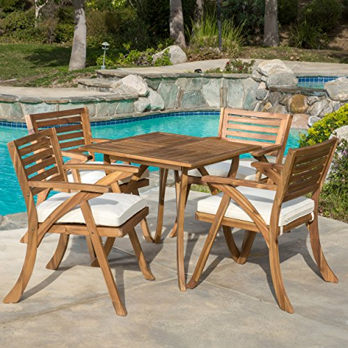 Great Deal Furniture Deandra | 5-Piece Wood Outdoor Dining Set with Cushions | Perfect for Patio | with Teak Finish
