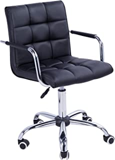HOMCOM Modern Tufted PU Leather Midback Home Office Chair with Lumbar Support - Black