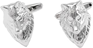 Epinki Men Silver Wolf Head Cufflinks for Tuxedo Shirts Gift for Father's Day Wedding Anniversary