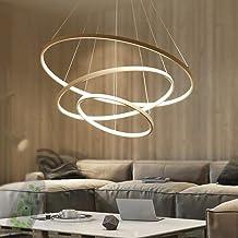 Modern LED Pendant Light, Dining Table 3-Ring Hanging Lamp Living Room Ceiling Lamp Bedroom Chandelier (Gold) Stepless dim...