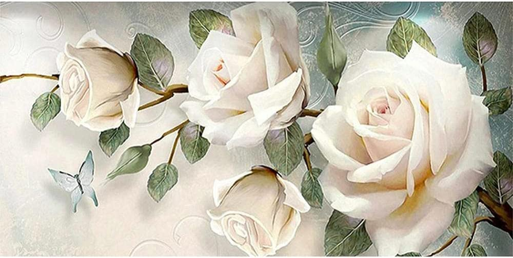 5D Super beauty product restock quality top! DIY Adults Diamond Painting Beginners Rose White Kits Dedication 40x120c