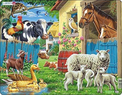 Larsen FH23 Haustiere auf einem gemütlichen Bauernhof, Rahmenpuzzle mit 23 Teilen