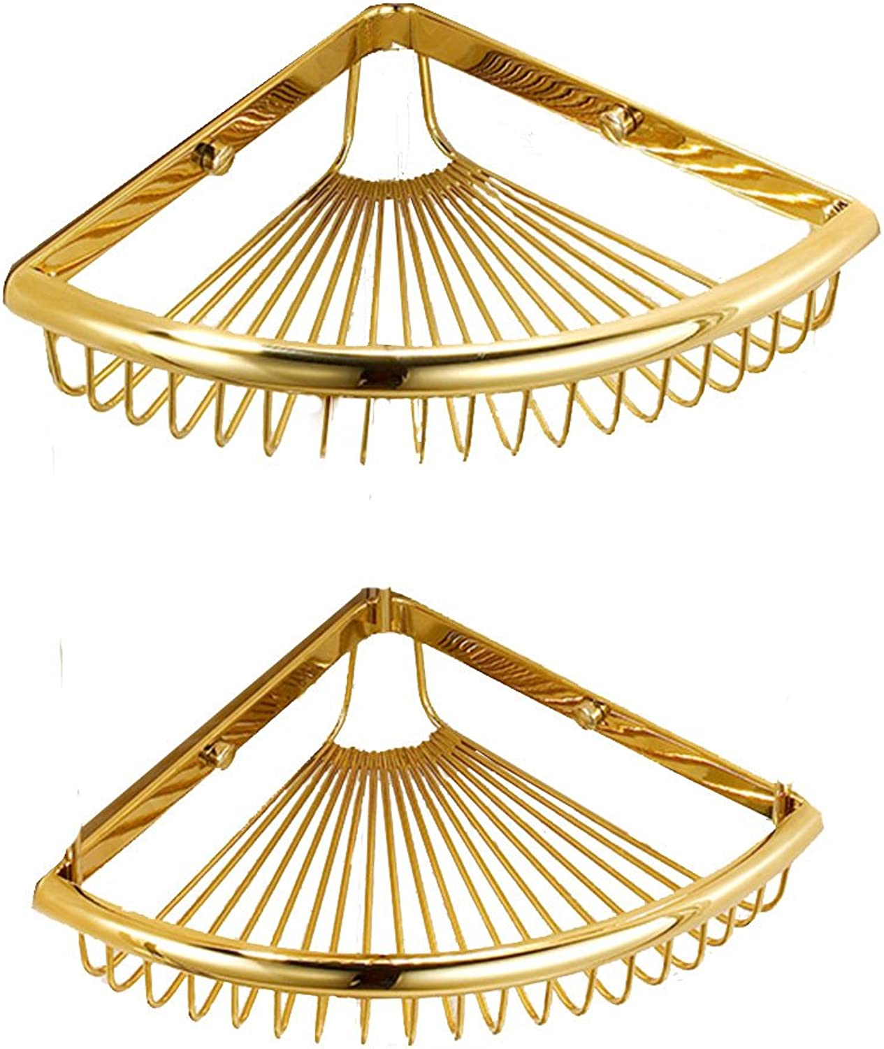 Shelves Bathroom Fine Copper Racks Storage Baskets Corner Triangle Basket Basket Bathroom Shelf Pendant Antique 2 Layer gold