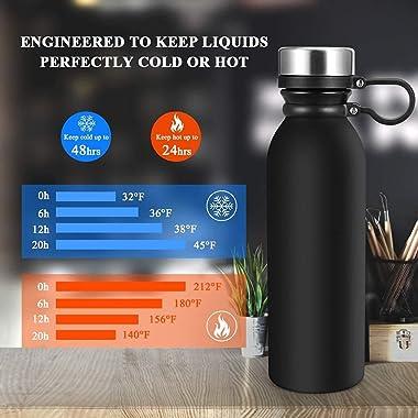 Stainless Steel Water Bottle|20 oz Vacuum Insulated Water Bottle|Insulated Double Wall Water Bottle Keep Hot & Cold,Leak