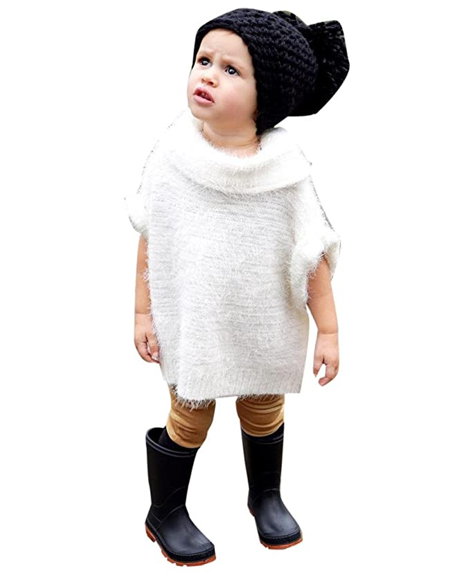 Sunbona Toddler Baby Girls Sleeveless Knitted Sweater Jumper Shawls Autumn Winter Cardigan Cape Cloak Coat Tops