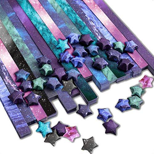 PaperKiddo 800 Blatt Origami Papier Bastelpapier Verschiedene Sternenhimmel Muster Hochwertiges Papier für Kinder Kunsthandwerk 24cm * 1,2cm