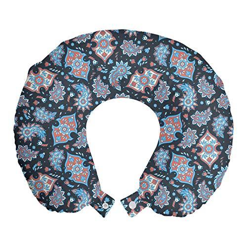 ABAKUHAUS Cachemir Cojín de Viaje para Soporte de Cuello, Persa Folkloric la lágrima, de Espuma con Memoria Respirable y Cómoda, 30x30 cm, Coral Negro Azul pálido