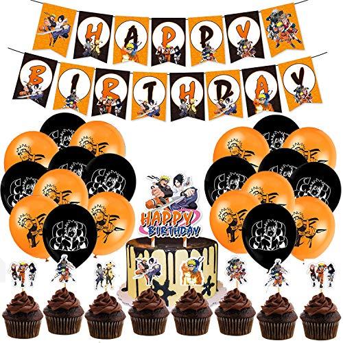 YNOUU Naruto Geburtstagsparty-Dekorationsset für Kinder und Jugendliche mit Happy Birthday Banner, Kuchendekoration, Cupcake-Topper, Luftballons für Party-Dekorationen