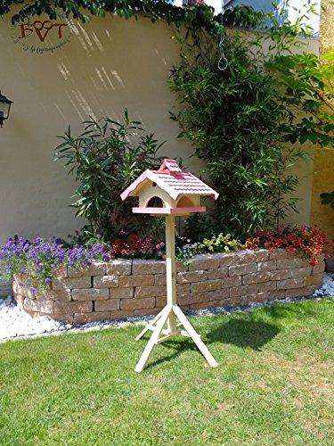 Vogelhaus, groß, BEL-X-VONI5-LOTUS-LEFA-pink002 Großes wetterfestes PREMIUM Vogelhaus mit wasserabweisender LOTUS-BESCHICHTUNG VOGELFUTTERHAUS + Nistkasten 100% KOMBI MIT NISTHILFE für Vögel WETTERFEST, QUALITÄTS-SCHREINERARBEIT-aus 100% Vollholz, Holz Futterhaus für Vögel, MIT FUTTERSCHACHT Futtervorrat, Vogelfutter-Station Farbe pink rosa rosarot süß, MIT TIEFEM WETTERSCHUTZ-DACH für trockenes Futter - 2