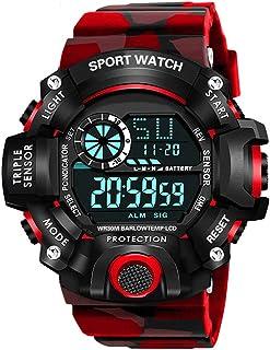 Shocknshop Digital Sports Multi Functional Black Dial Watch for Mens Boys -315RED