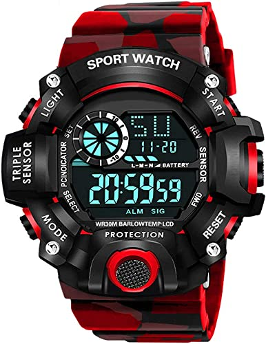 Digital Sports Multi Functional Black Dial Watch for Mens Boys 315RED