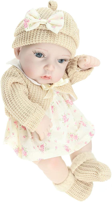 IIWOJ 28cm Reborn Baby Doll Mini BigEyed Silicone Girl Doll Photography Props,Beige
